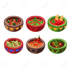 collection cuisine traditional cuisine soup collection vector drawing in