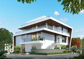 3d modern bungalow exterior elevation street view day rendering by