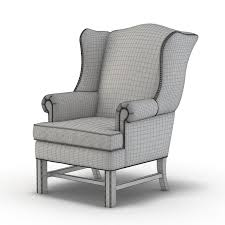 Leather Wing Back Chairs 3d Model