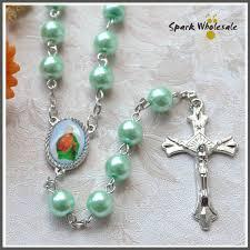 christian rosary 12pcs lot christian rosary aqua glass pearl rosary necklace catholic
