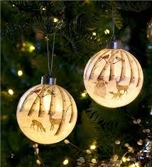 Glass Christmas Ornament Sets - snowy woodland lighted glass christmas ornaments set of 2