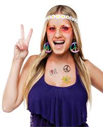 hippie flower headbands 60 s decade hippie flower child headband sunglasses costume