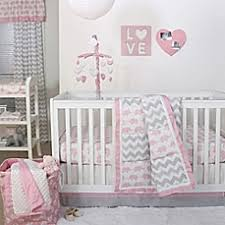 Pink And Gray Crib Bedding The Peanut Shell Elephant Crib Bedding Collection In Pink Grey