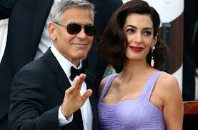is amal clooney hair one length amal clooney is a knockout in lavender just three months after