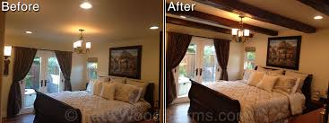 before and after picture of a bedroom design with imitation wood