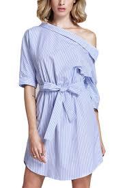 light blue stripe pattern one shoulder casual dress casual