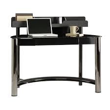 shop sauder chroma black chrome black glass computer desk at lowes com