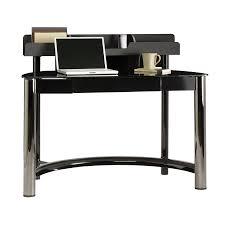 Glass And Chrome Desk Shop Sauder Chroma Black Chrome Black Glass Computer Desk At Lowes Com