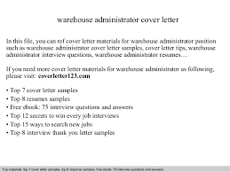 warehouse administrator cover letter