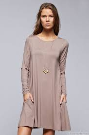 sleeve jersey a line tunic dress with pockets taupe