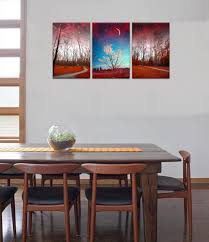 starry night canvas wall art fancy red forest prints for living