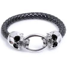 mens black steel bracelet images Punk black pu leather skeleton skull stainless steel bracelet men jpg