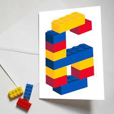 personalised building brick age number birthday card glyn west