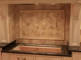 travertine backsplash tile brown cabinet countertop antiqued