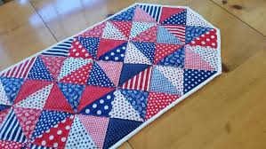 patriotic quilted table runner red white blue table linens 4th