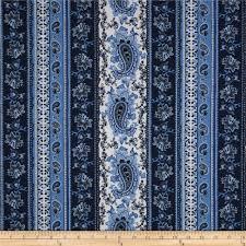 paisley floral stripe blue discount designer fabric fabric com