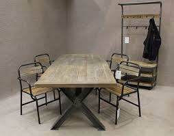 Industrial Armchair Metal Base Table A Sturdy Industrial Style Table With An Oak Top