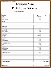 Profit And Loss Spreadsheet Template by Monthly Profit Loss Statement Papel Lenguasalacarta Co