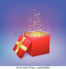 can light fire box open gift box with magic light fireworks vector clipart vector