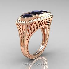 art deco 14k rose gold three stone 2 0 ct black diamond engagement