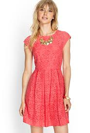 fit and flare dress forever 21 forever 21 contemporary lace fit flare dress in pink lyst