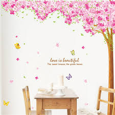 popular pink wall decals buy cheap pink wall decals lots from beautyful sakura tree wall stickers home decoration pink sakura flowers wall decals diy butterfly home decor