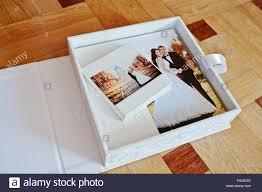 leather wedding album white leather wedding book or wedding album on wooden background