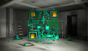 installation made of cubes and shaped boxes showcasing a real