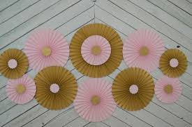 Pink And Gold Baby Shower Decorations by Pink And Gold Set Of 11 Eleven Paper Fans Rosettes