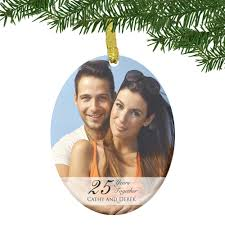 glass 25th anniversary couples photo ornament