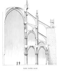 medieval cathedral of notre dame paris sketch of flying