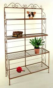 Wrought Iron Bakers Rack With Glass Shelves Graduated Bakers Racks With Wire Shelves