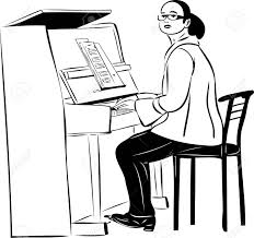 sketch of a woman pianist in glasses royalty free cliparts