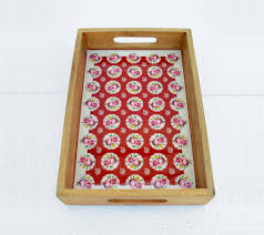 Shabby Chic Online Stores by Red Wooden Tray Shabby Chic Tray Vintage Pattern Lacquered