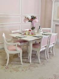 Shabby Chic White Dining Table by Shabby Chic Vintage Upholstered Slipper Chair In White Pink And