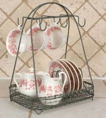 Shabby Chic Wire Baskets by New Vintage Style Dish Teacup Rack Caddy Holder Shabby Chic French