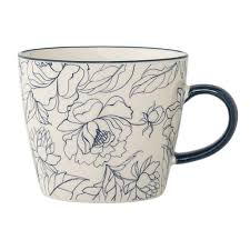 Design Mug Blue Flower Mug Boutique Vestibule Boutique Vestibule