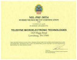 Quality Certification Letter teledyne microelectronics quality assurance and operational