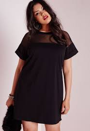 missguided plus size mesh panel t shirt dress black in black lyst