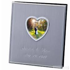 personalized photo album cover satin silver album with heart cover frame holds 120 4x6 photos