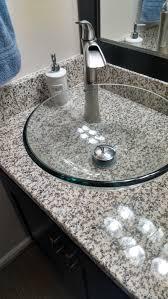 espresso vessel vanity with white sands luna pearl granite top