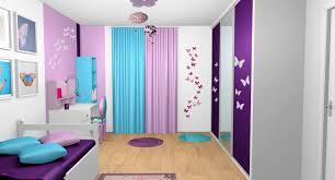 peinture violette chambre chambre fille violet mauve turquoise papillons bandes peinture