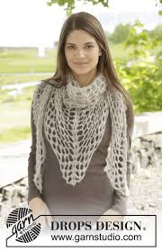 www drops design crochet drops shawl with lace pattern in brushed alpaca silk