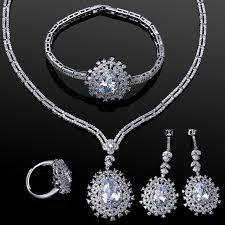 white gold necklace set images 4pcs sets luxury jewelry sets for brides white gold color cubic jpg