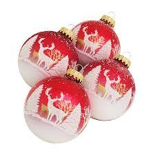 jaclyn smith 4 pack snow scene christmas ornaments