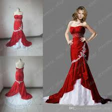 2014 fall real image red and white lace taffeta mermaid wedding