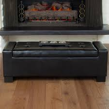 guernsey black bonded leather storage ottoman bench by christopher