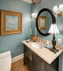 Dark Blue Powder Room Freestanding Lotion And Soap Dispensers Powder Room Traditional