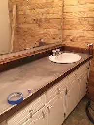 Bathroom Countertop Tile Ideas Guest Bathroom Redo With Shiplap Concrete Counter Top Hometalk