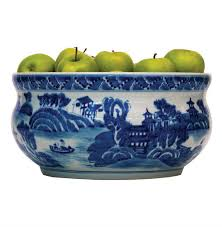 See Thru Chinese Kitchen Blue Island by Summer Palace Chinese Hand Painted Blue White Basin Fruit Bowl
